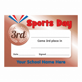 Sports Day 3rd Place Certificates