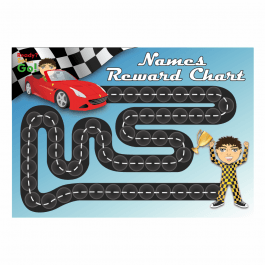 A3 Customisable Racing Car Reward Chart with customisable matching 25mm stickers
