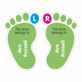 Left and Right Shoe Name Labels - Green