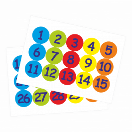 35mm Numbers 1-30 Coloured Stickers