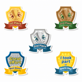 Sports Day Shield Custom Shape Stickers
