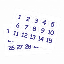 35mm Numbers 1-30 White Stickers