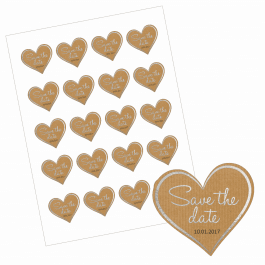 An image of Save the Date Heart Stickers - Paper/Silver Design-VALUE