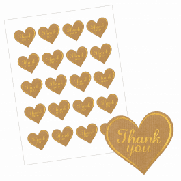 An image of Thank You Heart Stickers - Paper/Gold Design-VALUE