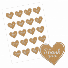 Thank You Heart Stickers - Paper/Silver Design