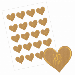With Love Heart Stickers - Paper/Gold Design
