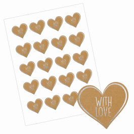 With Love Heart Stickers - Paper/Silver Design