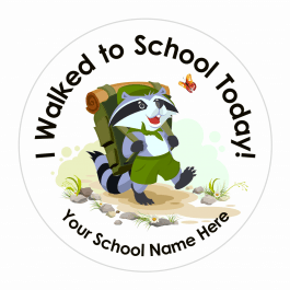 Walk to School Raccoon Character Stickers