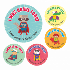 Bravery Bumped Head Superhero Stickers