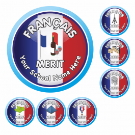 An image of French Flag Reward Stickers-VALUE