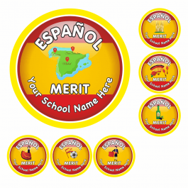An image of Spanish Flag Reward Stickers-VALUE