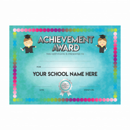 Achievement Award Turquoise Certificates