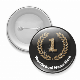 First Place Black and Glitter Button Badges