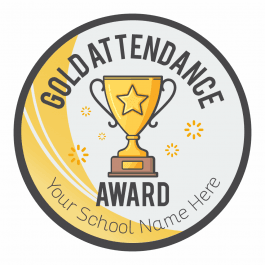 Gold Attendance Trophy Stickers - 35mm