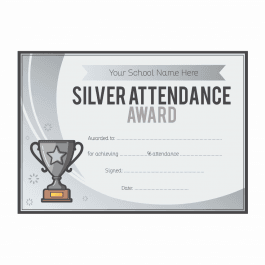 Silver Attendance Trophy Certificates - A5