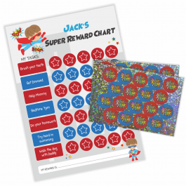 Superhero Reward Chart with Sparkly Stickers