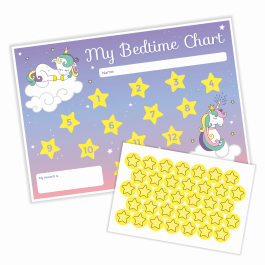 An image of Unicorn Bedtime Chart & Stickers