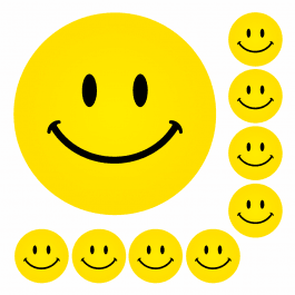 Mini Yellow Smiley Face Stickers - 19mm
