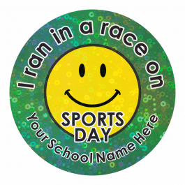 Smiley Sports Day Sparkly stickers