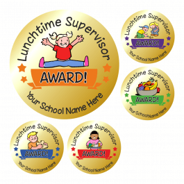 Metallic Gold Lunchtime Supervisor Award Stickers