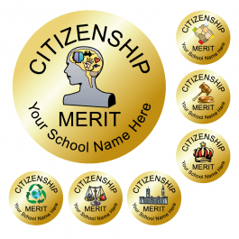 Citizenship Award Stickers - Metallic Gold
