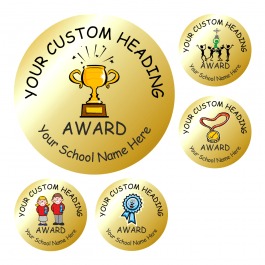Customisable Metallic Gold Headteacher Stickers