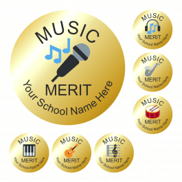 Music Metallic Gold Reward Stickers