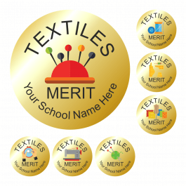 Textiles Metallic Gold Reward Stickers