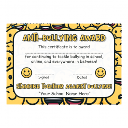 """Standing Together"" Anti-Bullying Award Certificate"