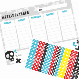 Weekly Planner & Stickers - Skull
