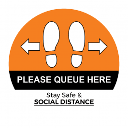 Please Queue Here Floor Stickers