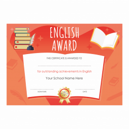 English Outstanding Achievement Certificates