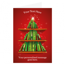 Teacher's Personalised Christmas Cards - Book Tree Design