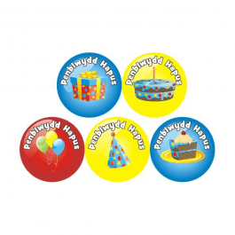 An image of Welsh Birthday Stickers Medium Pack