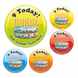 Happy 9th Birthday Cake Praise Stickers