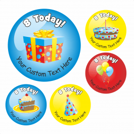 Happy 8th Birthday Stickers - Variety Pack