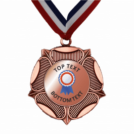 Bronze Medal & Ribbon - Bronze Rosette Design