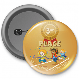Sports Day 3rd place Celebration Customisable Button Badge