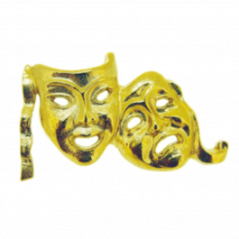 An image of Gold Lapel Badge - Drama Mask