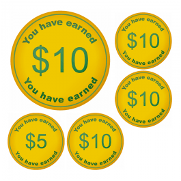 An image of $10 Money Token Stickers - Small Pack