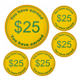 An image of $25 Money Token Stickers - Small Pack