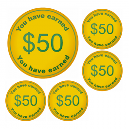 An image of $50 Money Token Stickers - Small Pack