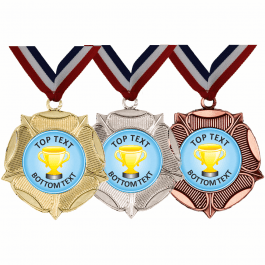 Mixed Medals & Ribbons - Blue Gold Cup Designs