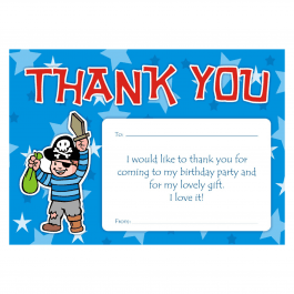Pirate Thank You Birthday Cards