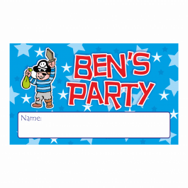 Personalised Pirate Party Name Stickers