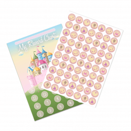 A4 Princess Castle Reward Chart and 70 Matching Stickers