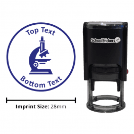 Science Microscope Stamp - Blue