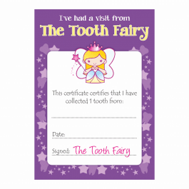 Tooth Fairy Girls Certificates