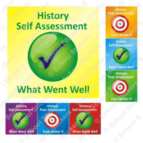 History Self/Peer Assessment Stickers