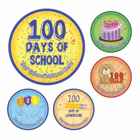 Super Sized 100th Day of School Stickers - Colourful
